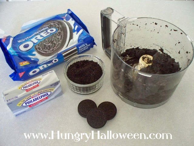 crust the OREO cookies using your food processor then blend in the cream cheese