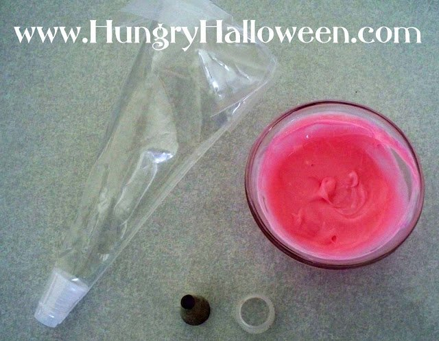 fill a pastry bag with the pink cream cheese then fit the bag with a large round tip
