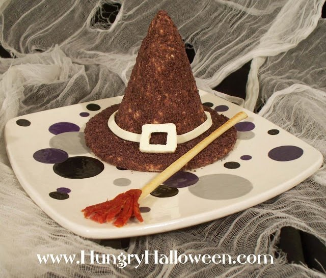 This Halloween Cheese Ball Witch Hat will be the center of attention at your party! This delicious appetizer puts a fin twist on your regular cheese ball!