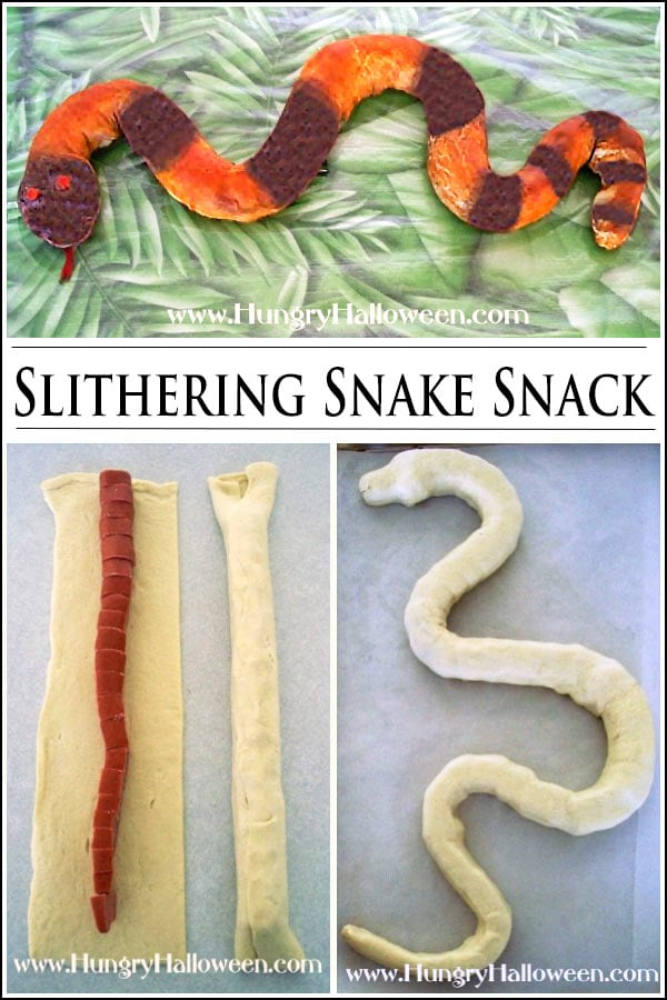 turn ordinary pigs in a blanket into a slithering snake snack for Halloween