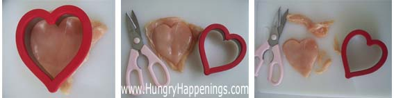 cutting boneless skinless chicken breasts into hearts for Valentine's Day dinner