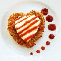 heart-shaped chicken parmesan