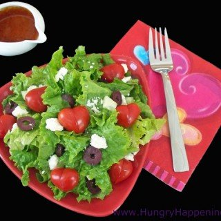 Valentine's Day Salad topped with Tomato Hearts