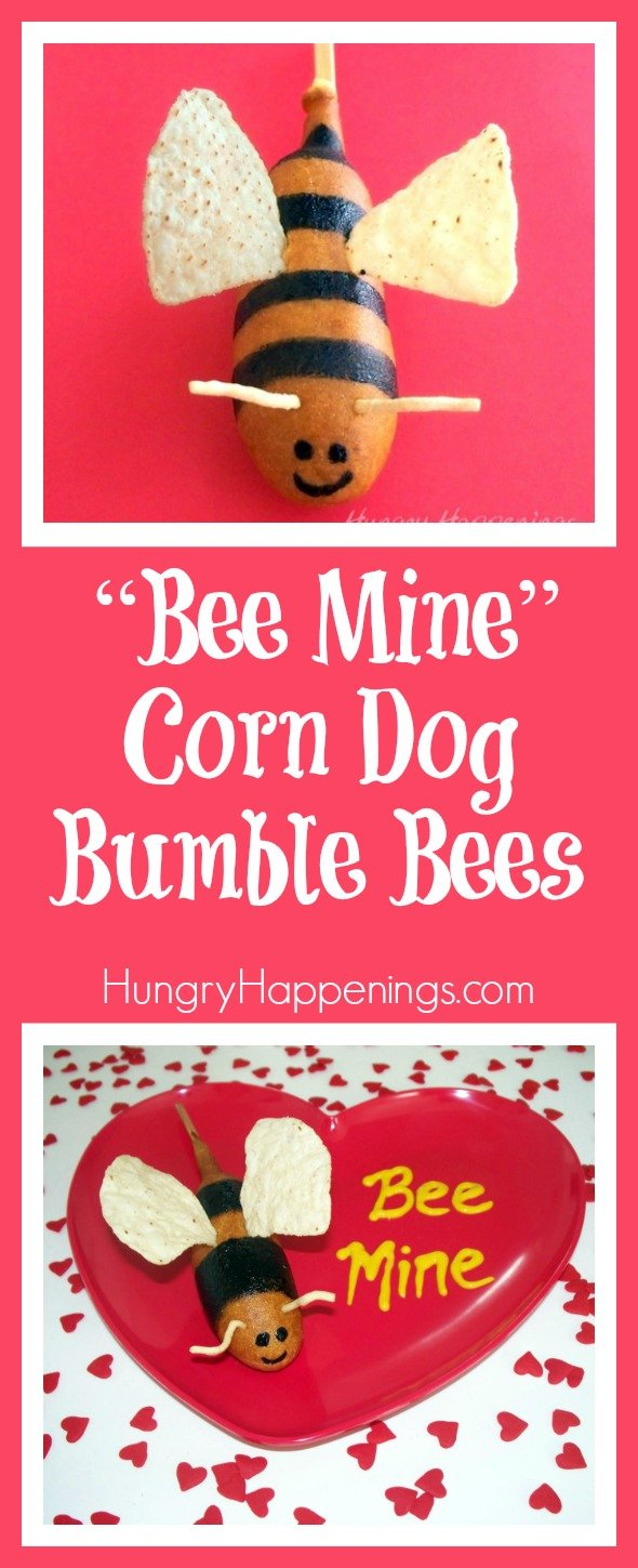 "Turn an ordinary corn dog into a work of art that will impress your lover this Valentine's Day. These ""Bee Mine"" Corn Dog Bumble Bees are so simple yet so cheesy that no one will be able to resist the cuteness."