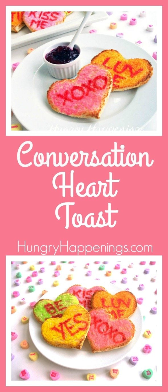 Express your love with food this Valentine's Day with Conversation Heart Toast. Write whatever message you please on the top and let your imagination run wild.