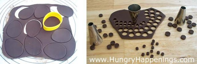 cut modeling chocolate into egg shapes using a cookie cutter and small circles using a pastry tip