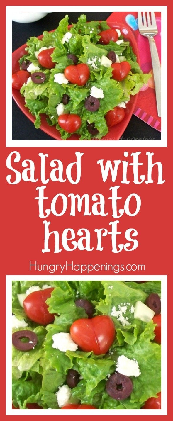 collage of images showing Valentine's Day Salads topped with heart shaped tomatoes on a red background with text overlay
