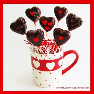 Valentine's Day Sweets – Cherry Heart Pops with Chewy Chocolate Centers