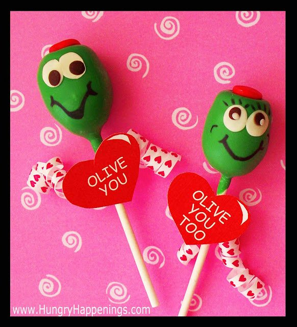 "Be as punny as possible for Valentine's Day with these Chocolate Truffle Pops. They read ""Olive You"" but mean so much more when given to a loved one."