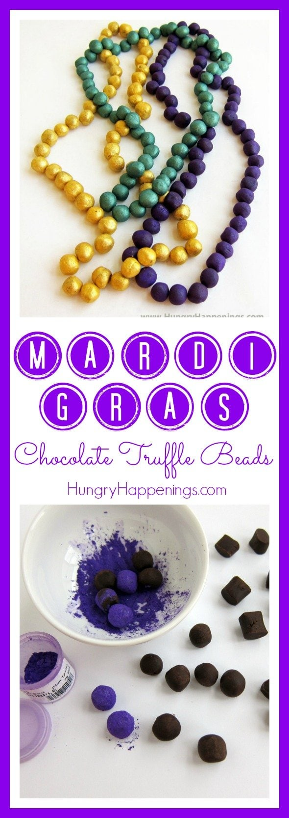 What is Mardi Gras more known for than the colorful beads! Get creative and make these Mardi Gras Chocolate Truffle Beads, you can't go wrong with this delicious dessert and it's a simple recipe if you don't have much time on your hands!