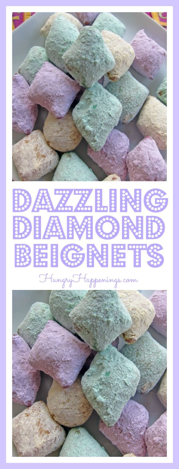 These festive Dazzling Diamond Beignets will be sure to light up your Mardi Gras! Whether you're having a party or just making them for fun, they are delicious and a great treat.