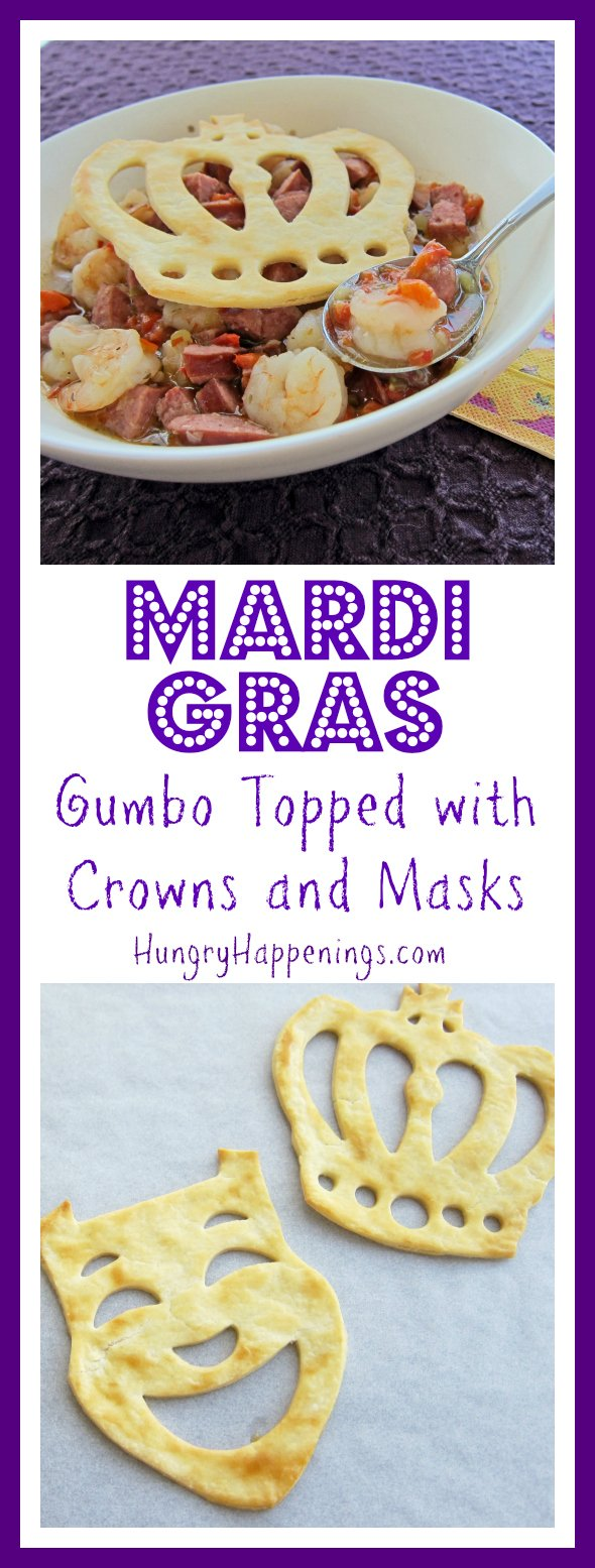 Whenever I think about New Orleans or Cajun food i immediately think of gumbo. If you're looking for a great gumbo recipe, look no further; try this delicious Mardi Gras Gumbo Topped with Crowns and Masks!
