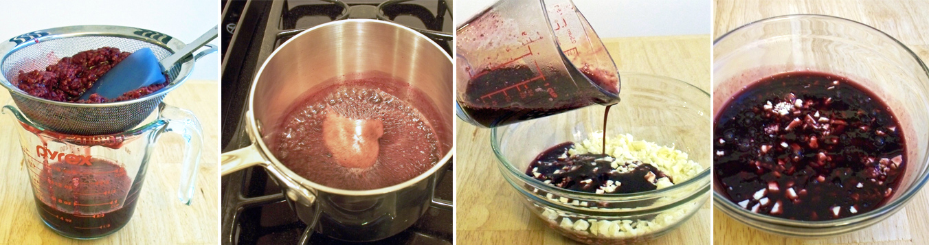 puree raspberries then heat to a simmer and pour over white chocolate
