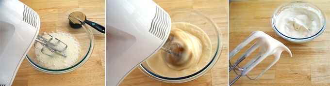 whip egg whites and brown sugar using an electric mixer