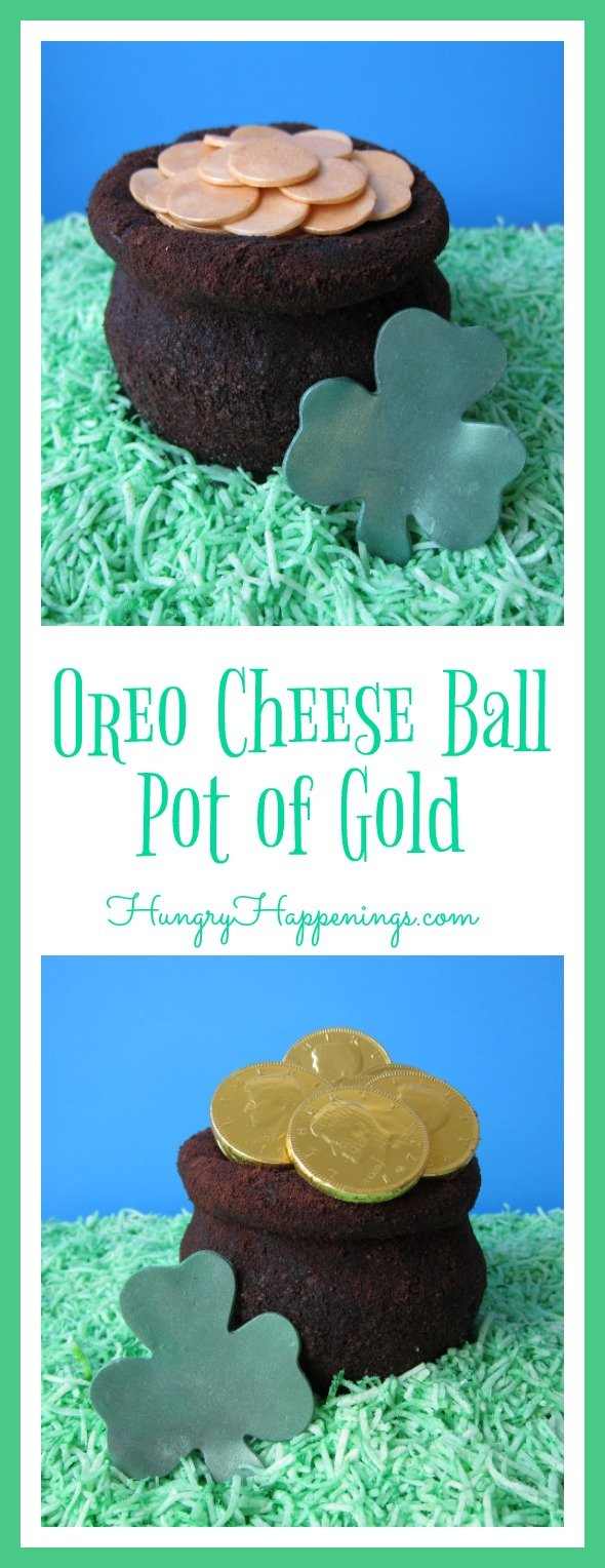 What better dessert to have to celebrate on St. Patrick's Day than this Oreo Cheese Ball Pot of Gold! Have some fun in the kitchen and make this adorable treat with your kids!
