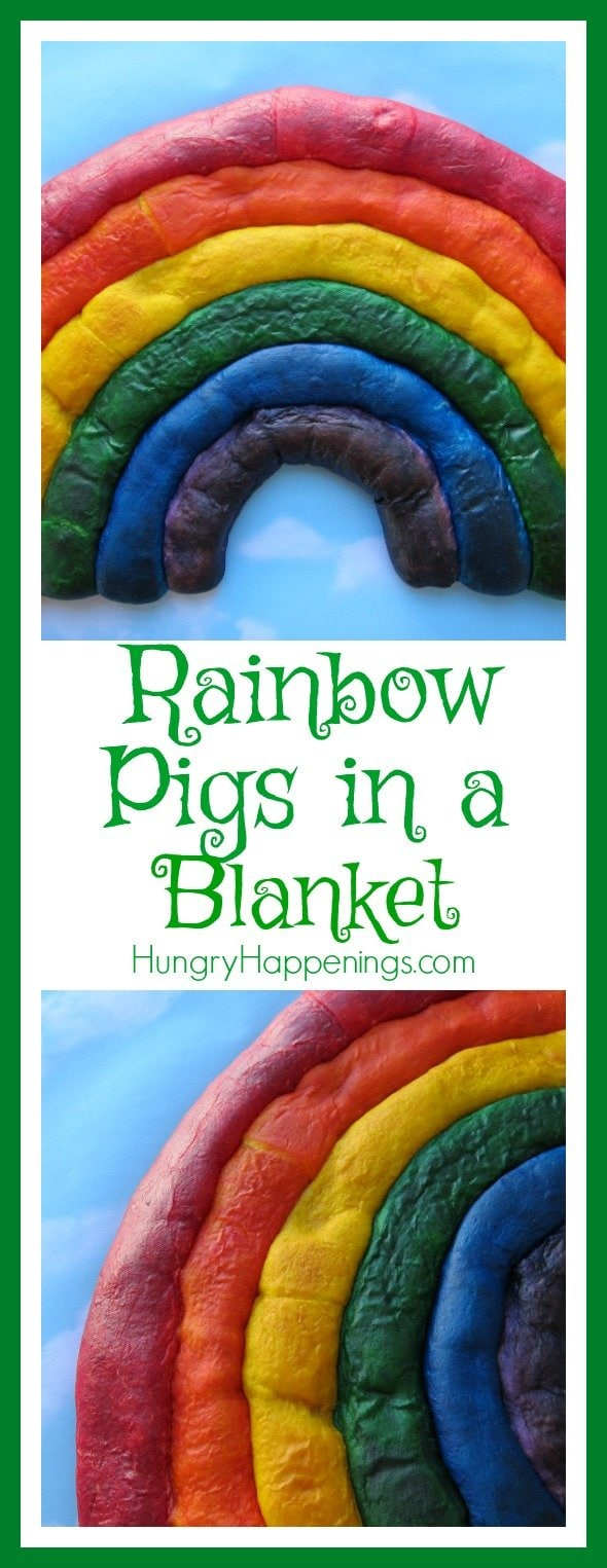 Put a twist on a traditional meal and make this Rainbow Pigs In A Blanket! This is the perfect appetizer for a St. Patricks Day party, or a cute meal for your kids!