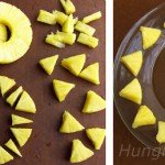 cut pineapple into triangles and around a salad plate to create a sunshine