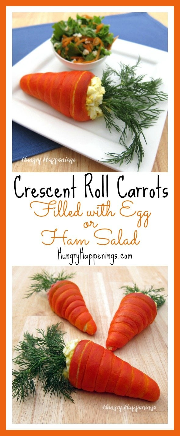 Great creative in the kitchen by making these Crescent Roll Carrots to serve at Easter brunch or lunch. Filled with egg or ham salad, they make a great main dish and they couldn't be cuter.