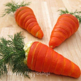 Fill Crescent Roll Carrots with your favorite egg salad or ham salad and serve for Easter brunch or lunch.