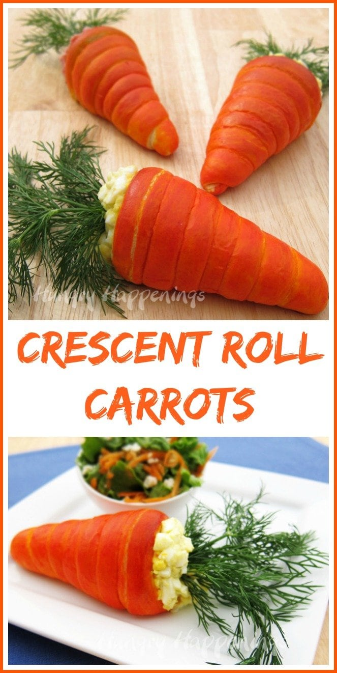 This Easter have some fun in the kitchen creating Crescent Roll Carrots then fill them with egg or ham salad.