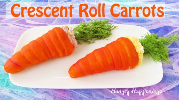 Great creative in the kitchen by making these Crescent Roll Carrots to serve at Easter brunch or lunch. Filled with egg or ham salad, they make a great main dish and they couldn't be cuter. See how fun they are to make in the step-by-step and video tutorials.