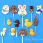 hand-painted Easter lollipops including Easter eggs, chocolate Easter bunnies, ducks, chicks, and lambs