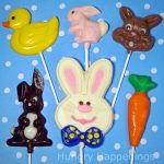 hand-painted Easter lollipops