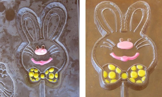 I don't know about you, but when I was little my favorite memories were being in the kitchen helping my mom make Hand Painted Chocolate Easter Pops! They're so easy to make and make great gifts!
