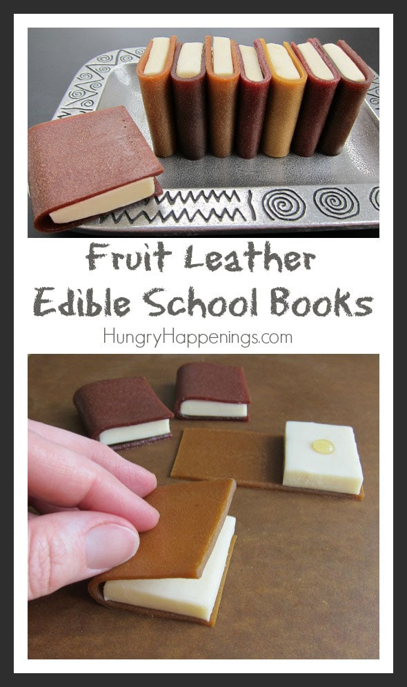 These fun Fruit Leather Edible School Books are a simple and tasty treat to make for your kids when they go back to school! With honey modeling chocolate in the middle this snack is amazingly one of a kind.