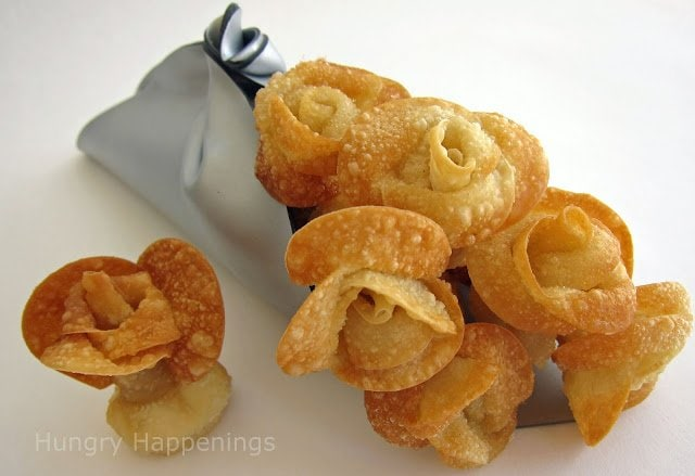 Looking for a unique appetizer to make for Valentine's Day, Mother's Day or a wedding? These Fried Won Ton Roses will make a stunning presentation and they taste great too.
