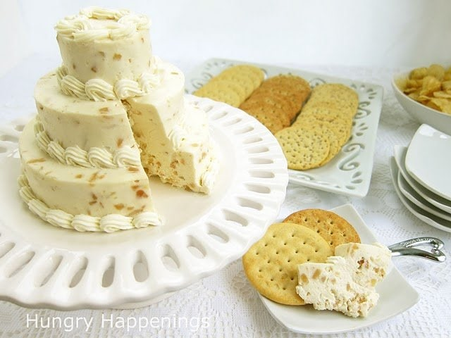 cut into cheese ball wedding cake and serve with crackers