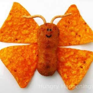 Wouldn't your kids love this cute chicken and chips butterfly for lunch?