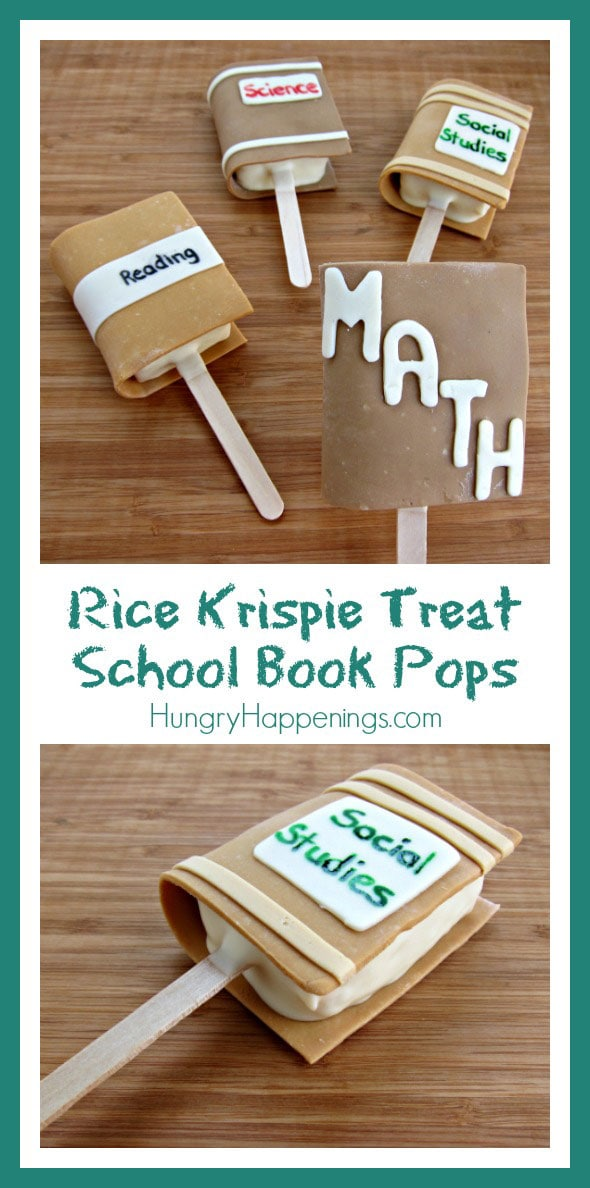 Make going back to school fun for your kids by making these Rice Krispie Treat School Book Pops! These yummy treats can be decorated however you like, and they're simple to make!