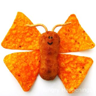 Chicken Tender Butterflies with nacho cheese corn chip wings and chow mein noodle antennae.