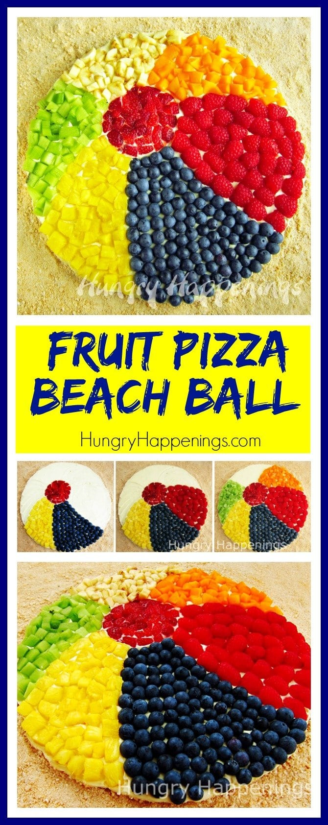 Make a sweet and refreshing Fruit Pizza Beach Ball for your summer party. This jumbo cookie is topped with lemon cheesecake filling and an assortment of fresh summer fruit.