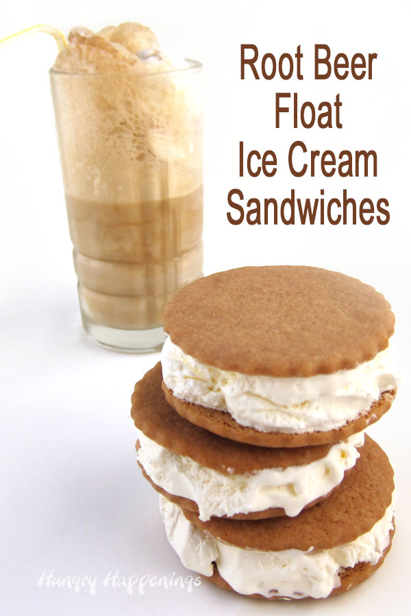 root beer cookie ice cream sandwiches are the frozen version of an ice cream float