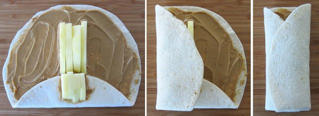apple and peanut butter wraps