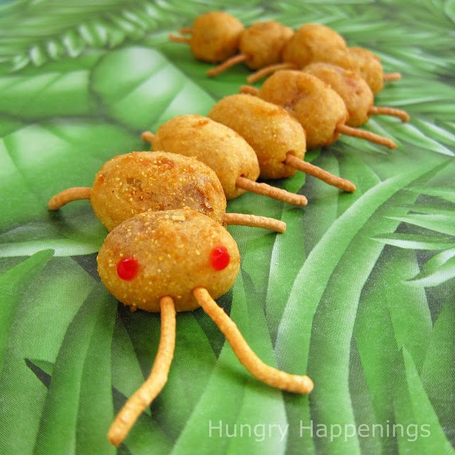 Corn Dog Centipedes with chow mein noodle antennae and legs.