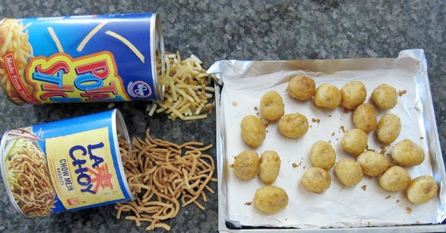 mini corn dogs and La Chow Chow Mein Noodles and Kroger Potato Sticks