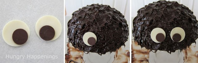 Add modeling chocolate eyes to the chocolate spider cake.