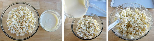 Toss white chocolate with popcorn to make the most amazing snack. It's quick and easy. See the recipe at HungryHappenings.com