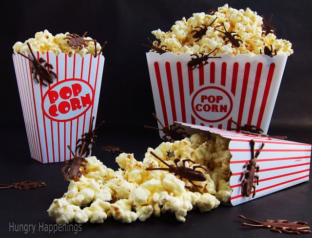 Do you think you could handle eating this Halloween Popcorn with Chocolate Bugs? If so, you have to make this delicious snack! Or make it to scare your kids with!