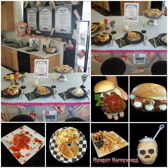 Kitchen decorated for a Dead Man's Diner Halloween party complete with body part decorations, hand-shaped hamburgers, meat ball toes, skull-shaped bread bowls, breadstick bones, and more.