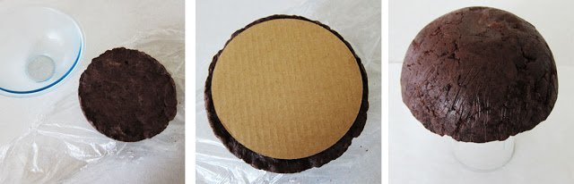 Un-mold the giant cake ball and set it on a cake board.