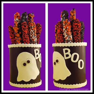 Learn How To Make Chocolate Canister to put all of your yummy Halloween treats in! Decorate these canisters with any sayings you'd like and have fun getting spooky!