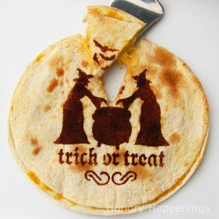 Halloween Meal – Quesadillas Decorated Using A Stencil