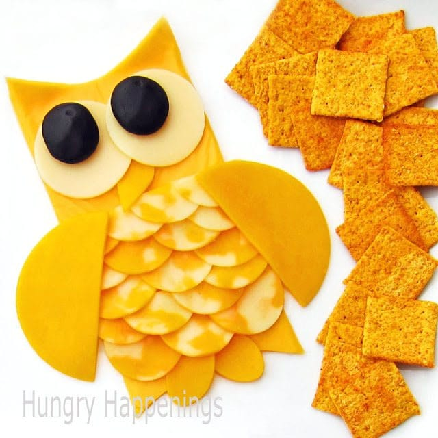 cheese slice owl served with crackers