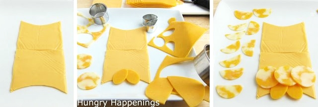 start creating the cheese slice owl by cutting cheese slices into the owl's body then cut two teardrop shaped feet