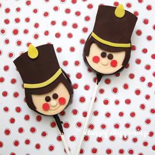 Chocolate Peanut Butter Fudge Toy Soldier Lollipops decorated with a modeling chocolate topper.