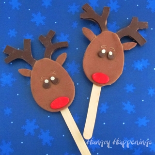Chocolate Reindeer Lollipops decorated with a modeling chocolate topper.